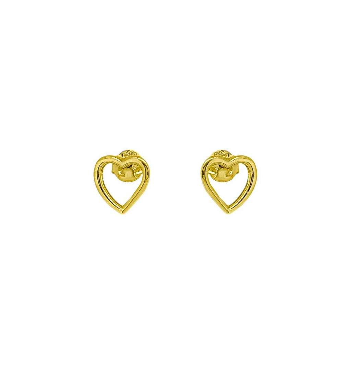 Par pendientes plata con baño de oro corazon presión