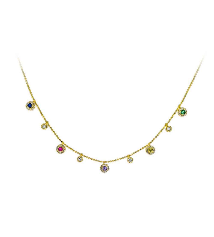 Gargantilla de plata oro y charms micro color