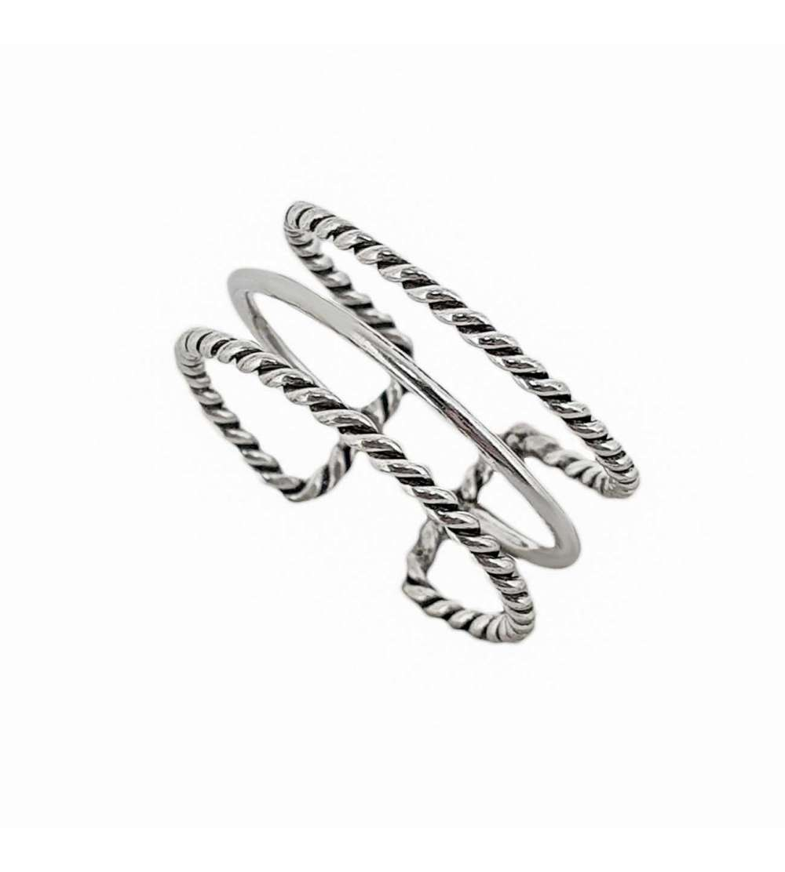 Anillo de plata ajustable tres lineas trenzado
