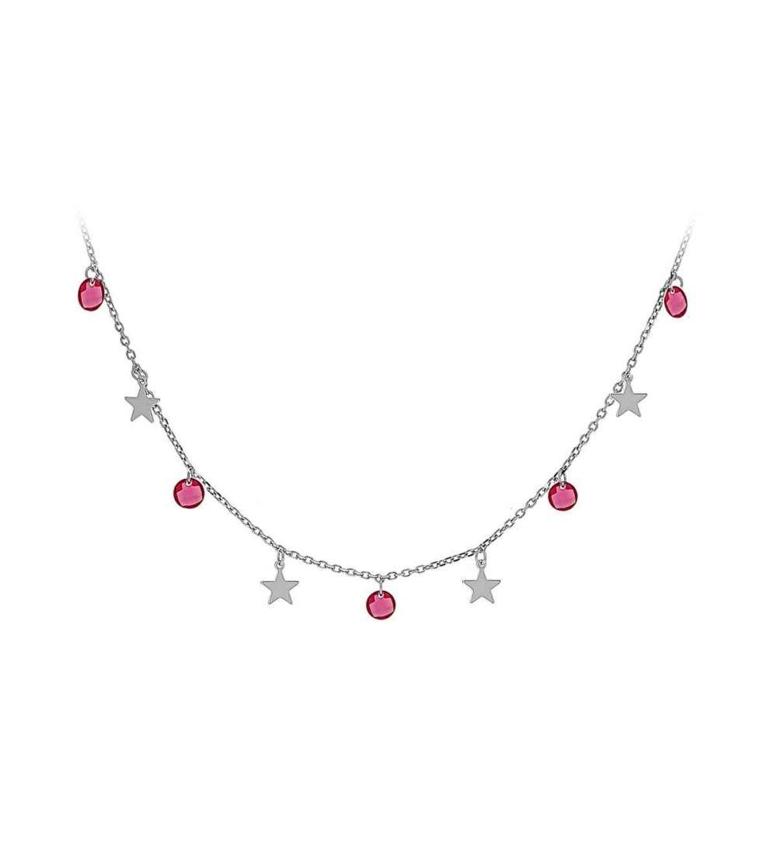 Gargantilla plata rodiada estrellas y circonita
