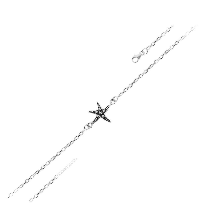 tobillera plata estrella mar 40