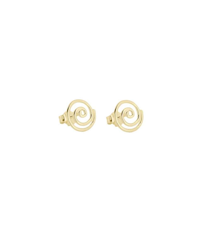 Un par de pendientes espiral de plata con baño oro