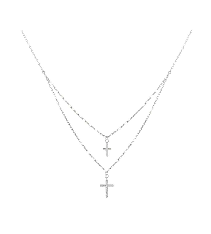 Gargantilla de plata microengastada y cruces