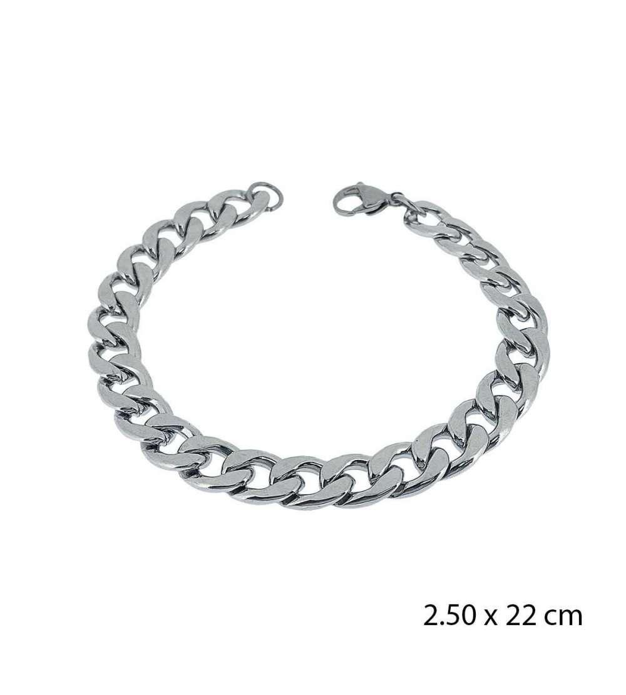 Una pulsera de acero barbada de 2,50 X 22 cm