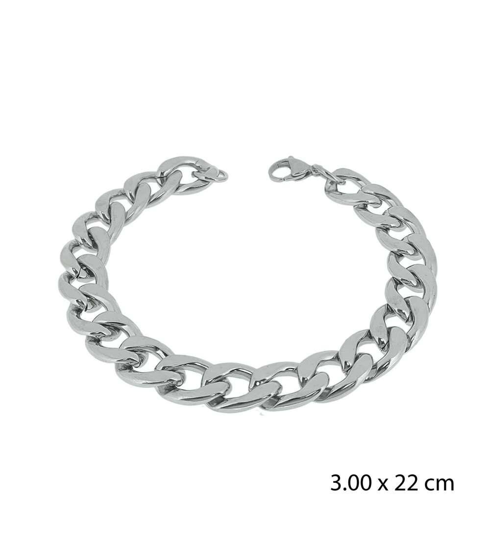 Una pulsera de acero barbada de 3,00 X 22 cm