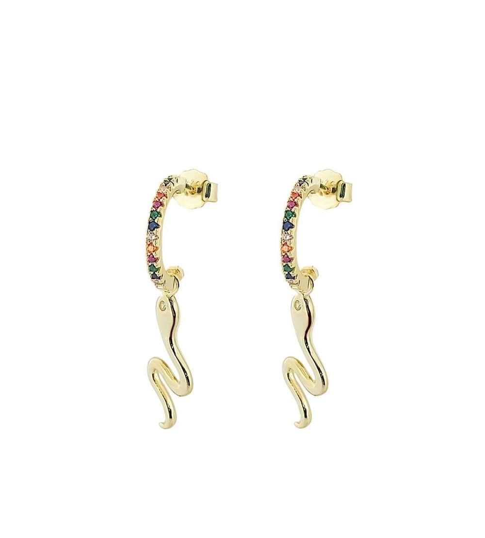 Un par de aros de microsetting serpiente color