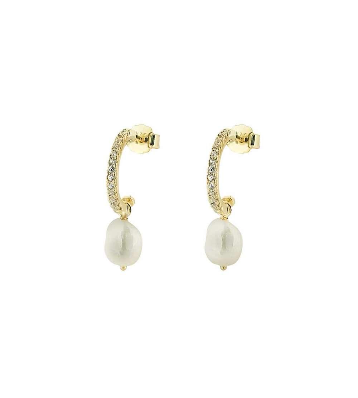 Un par de aros de microsetting perla blanco