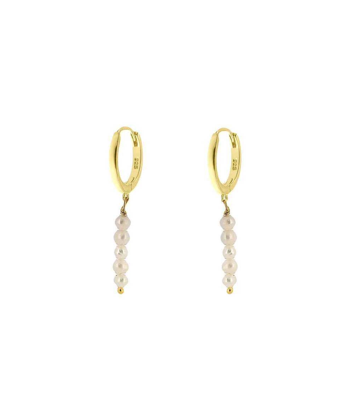 Un par de aros de microsetting perlas blanco