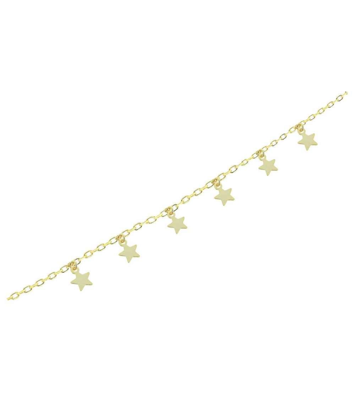 Una pulsera de plata con baño y estrellas