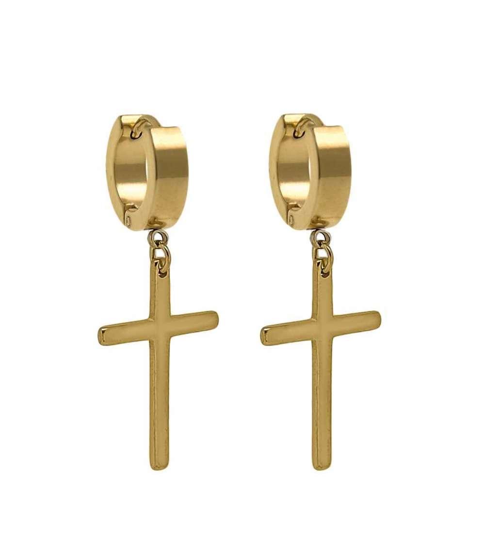 Tres pares de aros de acero con cruz dorada 4 X 9